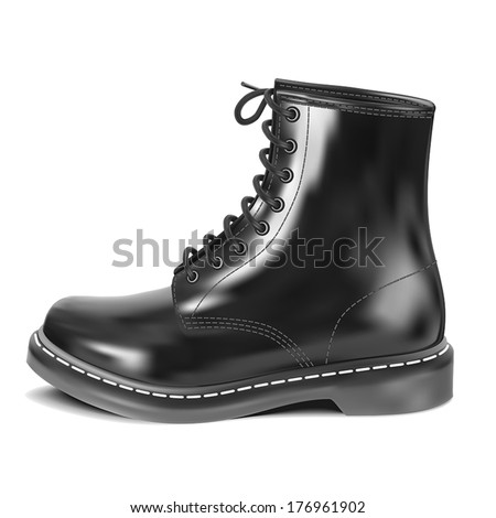 Black leather boot. Vector illustration.  - stock vector