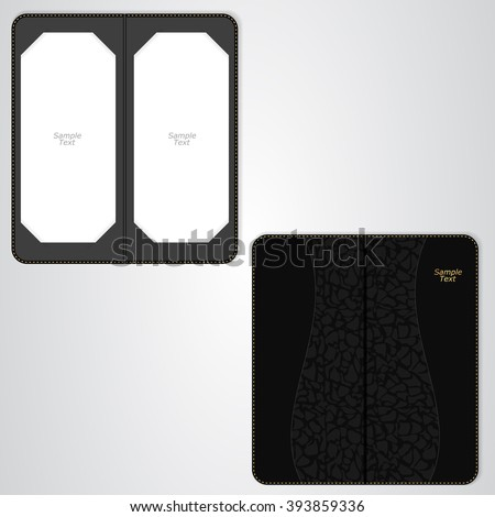 Black leather folder for the VIP restaurant, coffee sided. Vector - stock vector