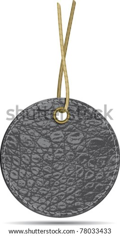 Black leather label with string - stock vector