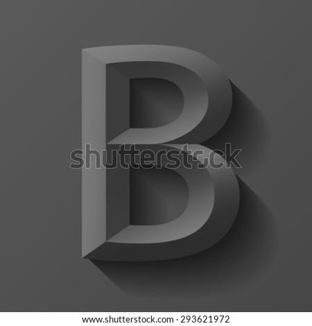 Black letter B on black background. - stock vector