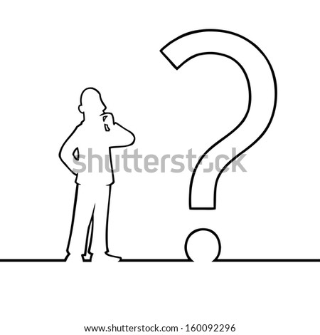 Black line art illustration of a man looking at a question mark. - stock vector