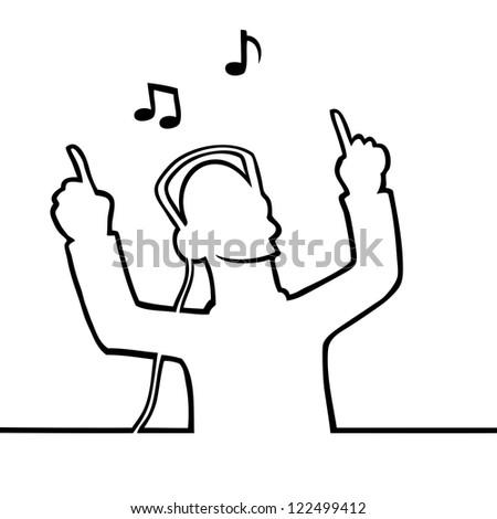 Black line art illustration of someone listening to music - stock vector