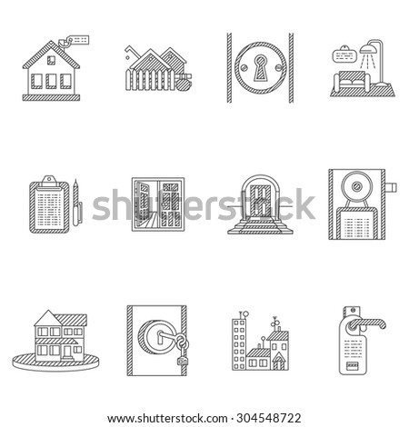 Black line icons vector collection for rent of residential property elements. House, key, agreement and rent documents, home interior and others for business or website