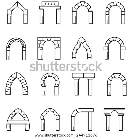 Black line icons vector collection of arches. Set of black line vector icons for different styles brick arches on white background. - stock vector