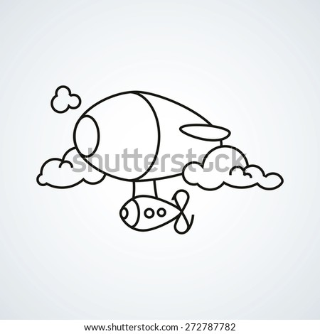 black line vector icon airship on white background. - stock vector