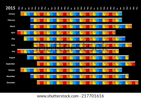 Black linear calendar 2015 with daily color coding - stock vector