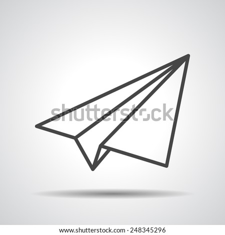 black linear paper plane icon on a grey background - stock vector