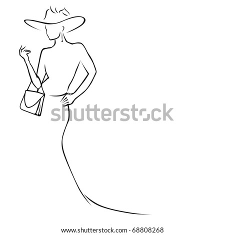 black lines woman in hat - stock vector