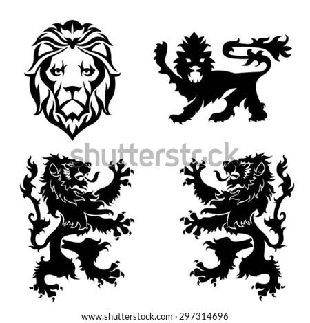 Black lion heraldry set - stock vector