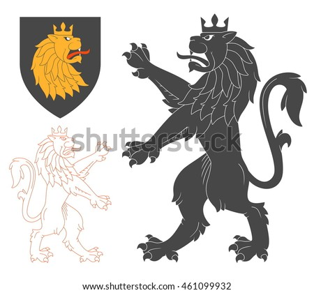 Black Lion Illustration For Heraldry Or Tattoo Design Isolated On White Background. Heraldic Symbols And Elements