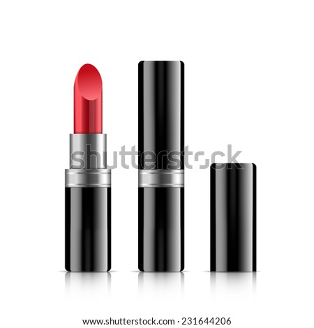 Black lipstick closed and open. Illustration on white background. - stock vector