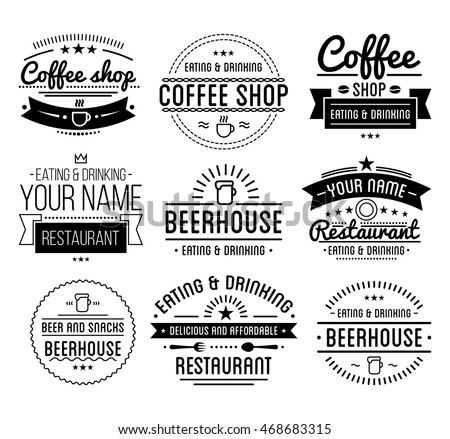 Black logo coffee shop template restaurant stock vector for Classic house labels
