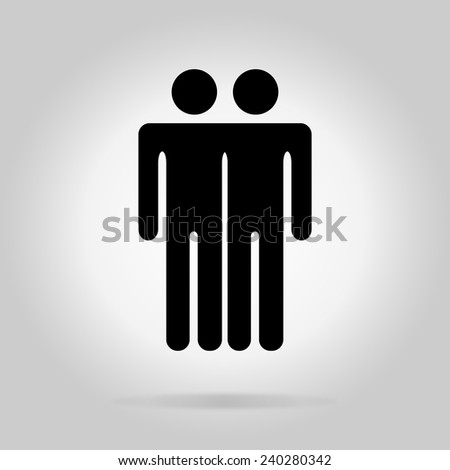 Black logotype two men. Simple silhouette information sign with gray drop shadow - stock vector