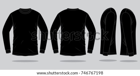 Black long sleeve t shirt template stock vector royalty free black long sleeve t shirt for template frontback and side views maxwellsz
