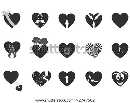 black loving heart icon - stock vector