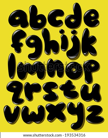 Black lower case bubble alphabet set - stock vector