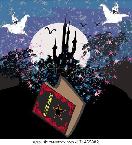 Black Magic Book - stock vector