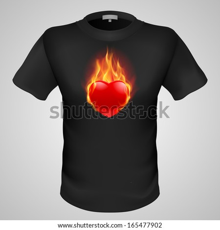 Black male t-shirt with fiery red heart print on grey background. - stock vector