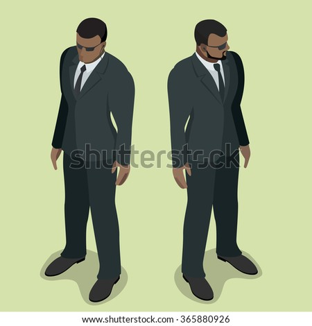 Black man security guard, Security guard face control, Security man of nightclub, Security guard of nightclub, bouncer, Powerful muscular bodybuilder, 3d flat security vector isometric illustration - stock vector