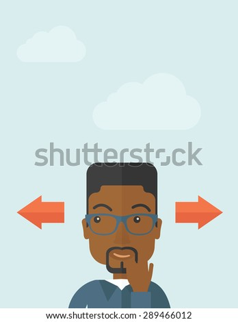 Black man thinking which way to go left or right arrows. Choosing concept.  A Contemporary style with pastel palette, soft blue tinted background with desaturated clouds.. Vector flat design - stock vector