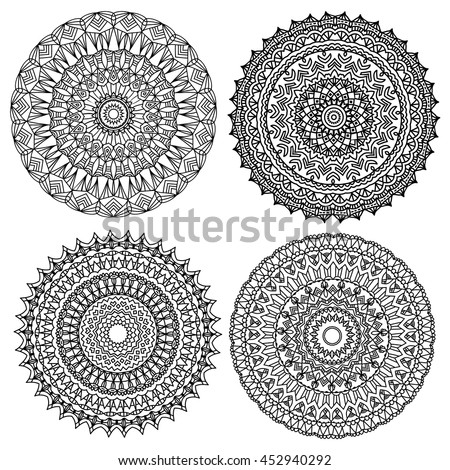 Black Mandala collection isolated over white background
