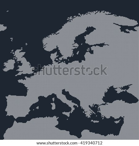 Black map of Europe in the dots. Europe map vector illustration. White Europe map on black background. - stock vector