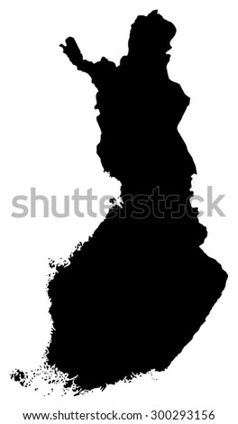 Black map of Finland isolated on white background