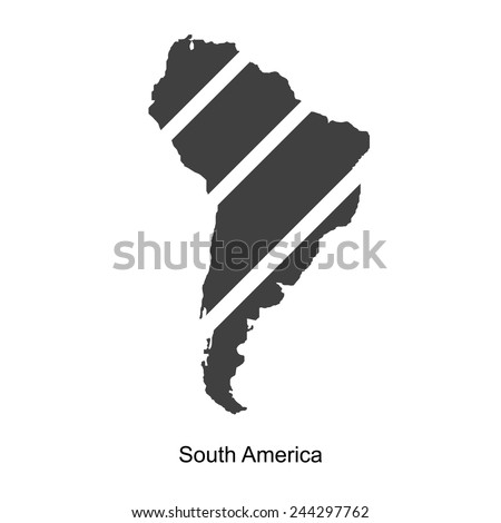 Black map of south america for your design, concept Illustration. - stock vector