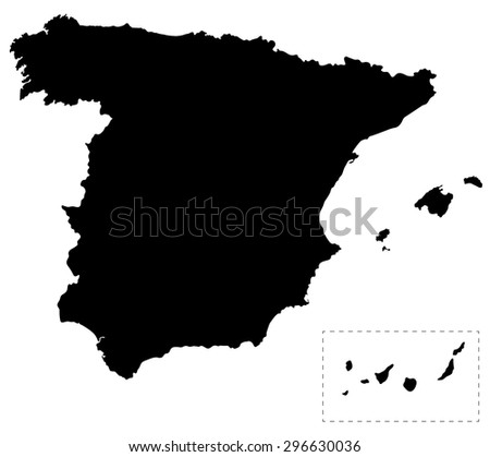 Black map of Spain isolated on white background - stock vector