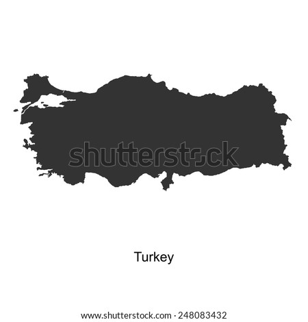 Black map of Turkey for your design, concept Illustration. - stock vector
