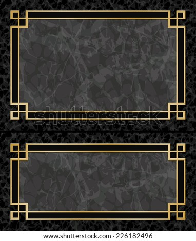 Black Marble Backgrounds with Gold Frames, Borders - Vector EPS 10 - stock vector