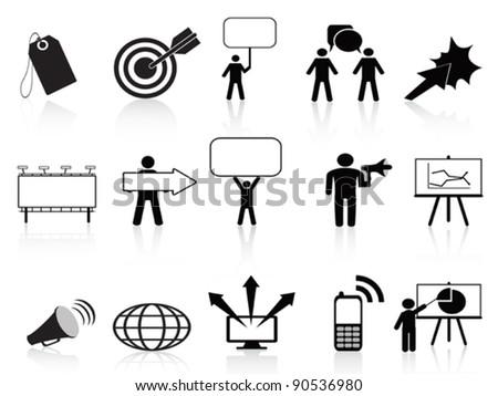 black marketing icons set - stock vector