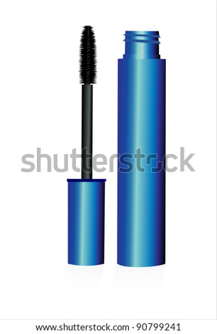 black mascara for eyes isolated on the white background - stock vector