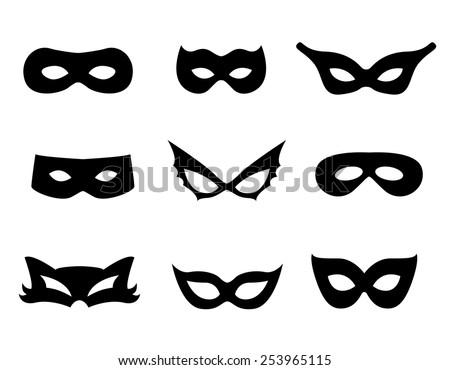 Wonderful Black Mask Shapes Collection Isolated On White Background.