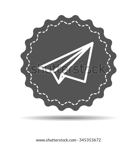 black medal icon with linear paper plane on a white background - stock vector
