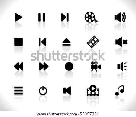 Black media icons - stock vector