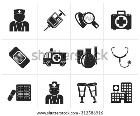 Black Medicine and healthcare icons - vector icon set - stock vector