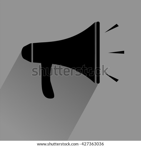 black megaphone icon - stock vector