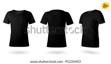 Black men T-shirt template. Photo-realistic mesh design. - stock vector