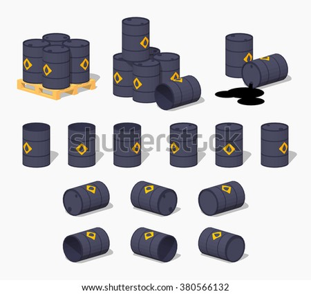 Black metal barrels with the oil - stock vector