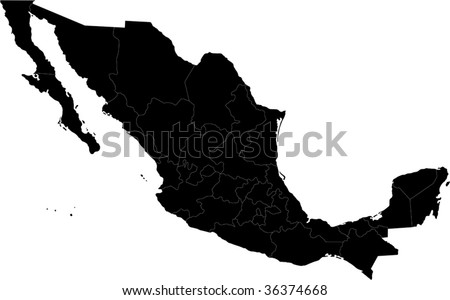 Black Mexico map separated on the states - stock vector
