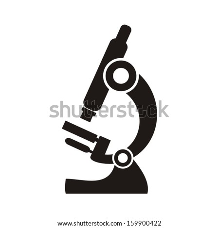 Black microscope icon on a white background - vector illustration - stock vector