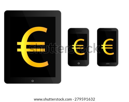 Black Mobile Devices with Euro Sign - stock vector