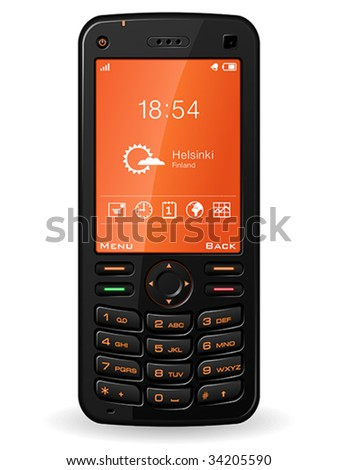 Black mobile phone - stock vector