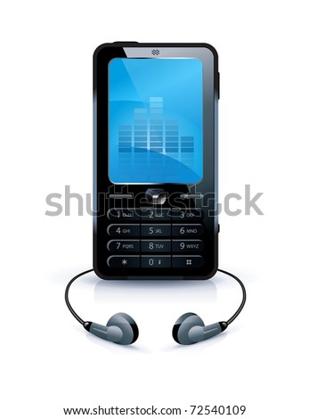 Black mobile phone with headphones - stock vector