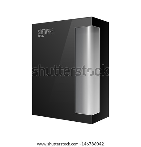Black Modern Software Product Package Box With Gray Window For DVD Or CD Disk EPS10  - stock vector