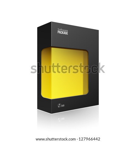 Black Modern Software Product Package Box With Yellow Window For DVD Or CD Disk EPS10 - stock vector