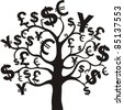 black money growing on trees, dollars isolated on White background. Vector illustration - stock photo