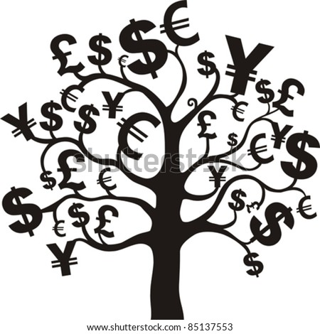 black money growing on trees, dollars isolated on White background. Vector illustration - stock vector