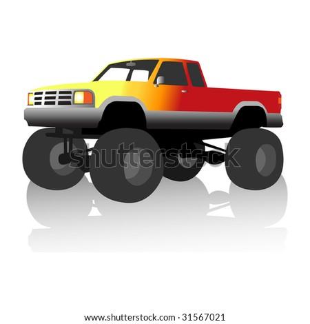 black monster truck, vector illustration - stock vector